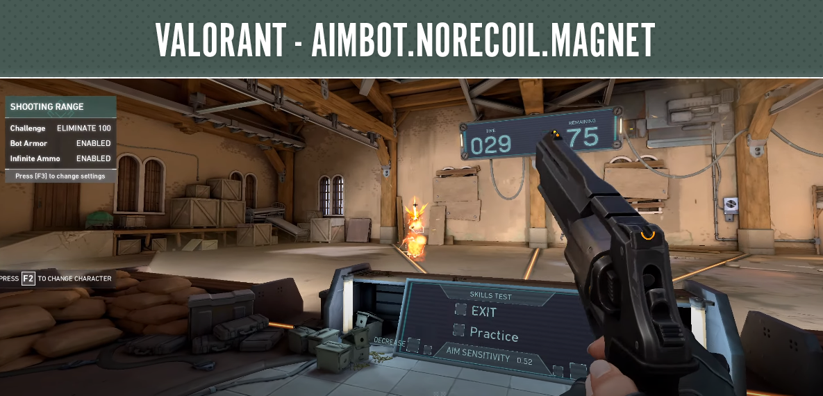 Valorant - Aimbot, NoRecoil, Magnet - Using the Aimbot function, you will shoot exactly in the head in the game VALORANT, and the NoReCoil function will remove the spread of bullets from your weapon, plus the Magnet function will press your sight exactly where you are aiming.Use this cheat now, as long as it is not detected and you will not get banned for it. - Free Cheats for Games