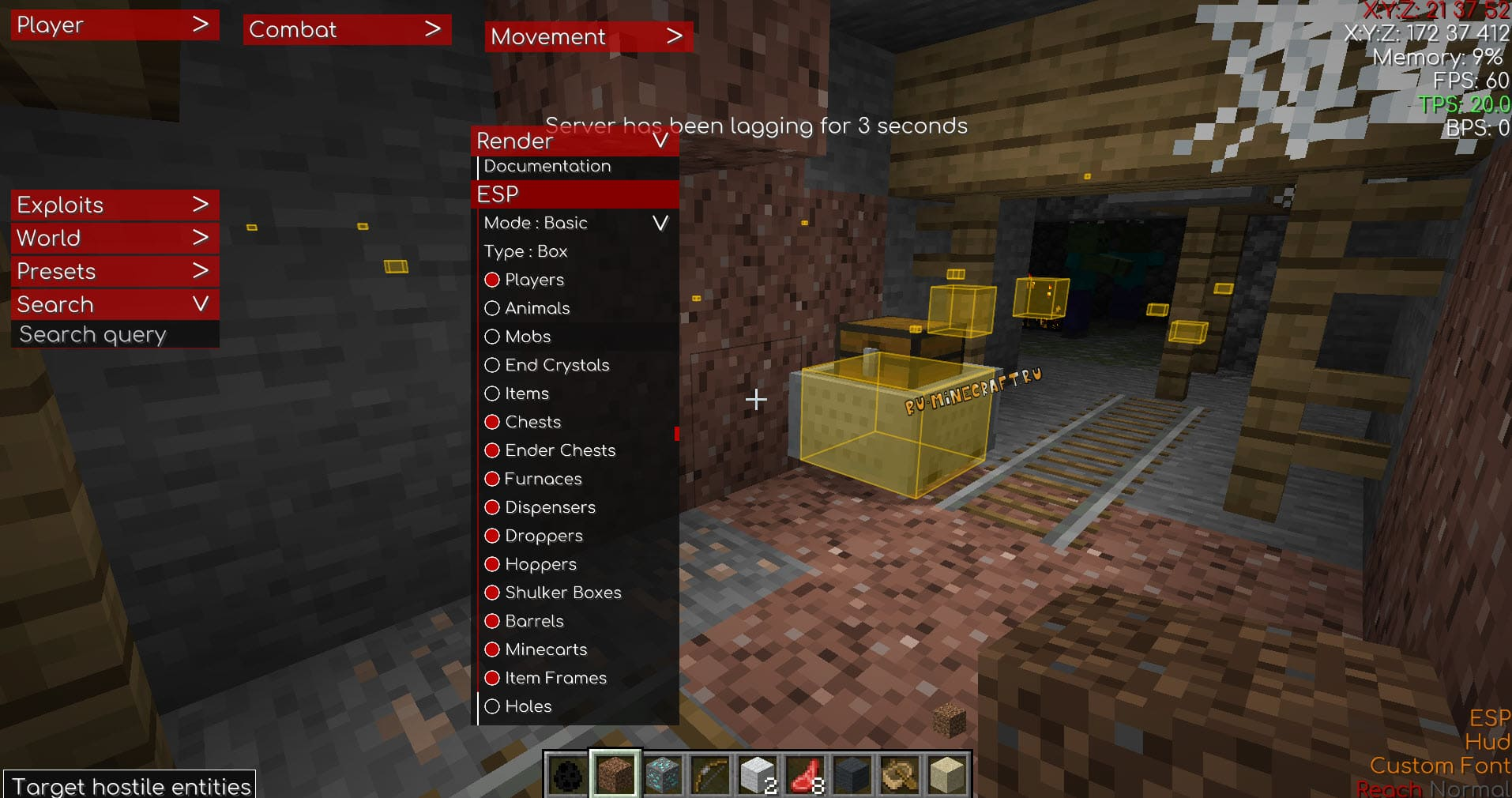 Inertia Cheat Client 1.16.5 1.15.2 1.14.4 1.12.2 - The cheat contains many basic features, such as the ability to shine through walls, highlight mobs and players, blocks, automatically put blocks, break and destroy the world, spam the chat, try to fly and run faster, automatically aim with a bow, automatically attack, and many other different cheat and useful functions, all of them are described below. - Free Cheats for Games